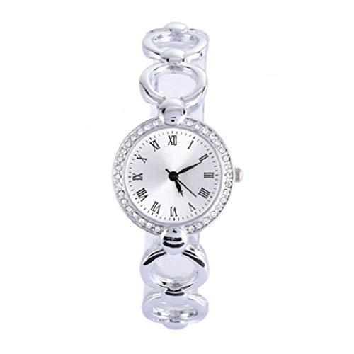 linjunddd Las Mujeres Reloj Analógico De Cuarzo Relojes De Pulsera Movimiento con Los Relojes De Cadena De La Aleación del Brazal De Cristal con Acentos Pila De Botón (Plata)