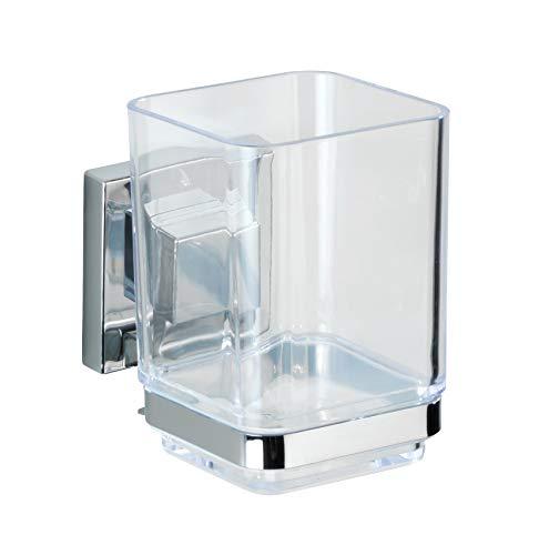 WENKO Vacuum-Loc Zahnputzbecher mit Halterung Quadro, Zahnbürstenhalter ohne bohren für das Bad, rostfreie Edelstahl-Wandhalterung mit transparentem Kunststoffbecher, 7.5 x 10 x 10 cm