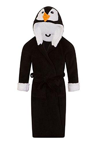 Pijama de una pieza con capucha para niña, diseño de unicornio Negro Albornoz de pingüino 34