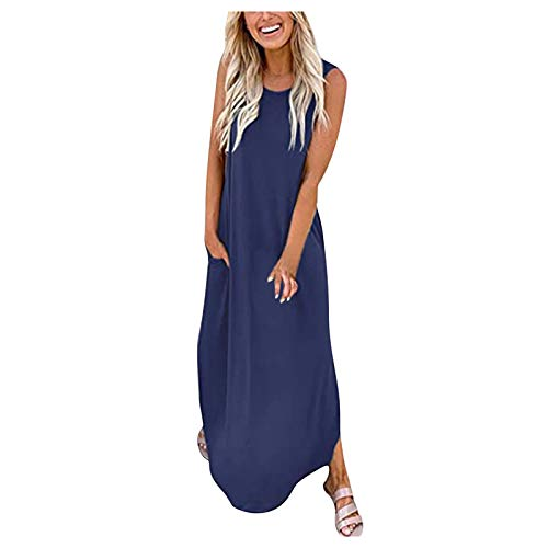 Lalaluka Vestido de verano para mujer, largo hasta la rodilla, elegante, cuello redondo, moderno, vestido de playa, vestido de cóctel, vestido bohemio, vestido de tirantes. azul XXXXL