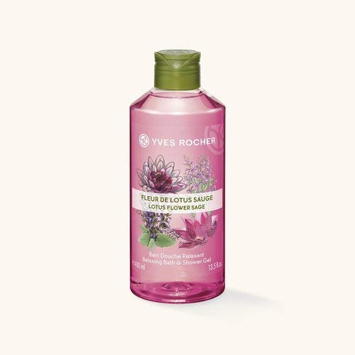 Yves Rocher LES PLAISIRS NATURE Duschbad Lotusblüte-Salbei, Aroma-Schaumbad & pflegendes Duschgel, 1 x Flacon 400 ml