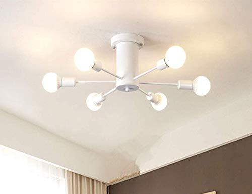 Rubue Lámpara de techo de montaje empotrado, moderna, color blanco, 6 luces, lámpara de araña para hogar, cocina, pasillo, restaurante, almacén, granero, sala de estar