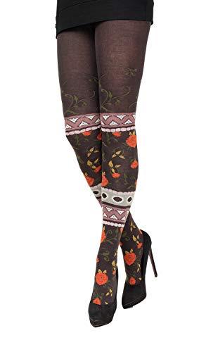 CRÖNERT edle Damen Strumpfhose, Strickstrumpfhose multicolor 72219 Winterrosen und Arabesken (38-40)