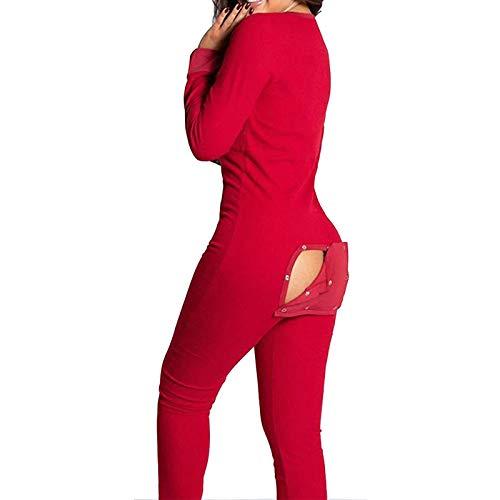 WENLIANG Pyjama-Overall Mit Po-Klappe FüR Frauen, Damen-Langarm-Einteiler-Pyjama, Catsuit Mit V-Ausschnitt M rot