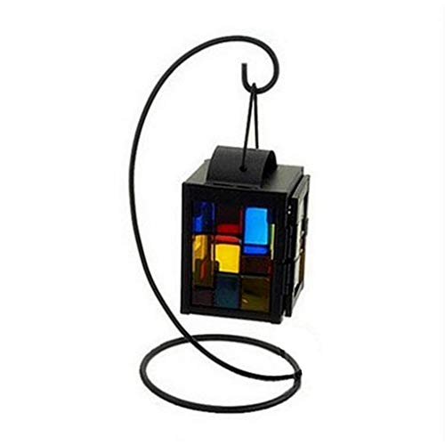 jieGorge Wrought Iron Hanging Candlestick Decoration Colorful Glass Window Wedding Holder , Decors for Home Christmas New Year (Multicolor)