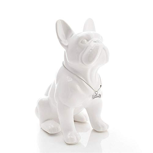 KIKIBEDYZ Statues Sculpture Figurines Statuettes,White French Bulldog Dog Design Abstract Art Animal Figurines Modern Creative Statuettes Crafts for Home Corridor Artwork Ornaments Decoration