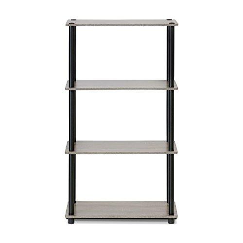 Furinno (99557GYW/BK) Turn-N-Tube 4-Tier Multipurpose Shelf Display Rack - French Oak Grey/Black