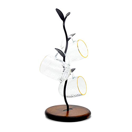 SASIDO Mug Tree Countertop Coffee Cup Holder for Counter Coffee Mug Rack Perfect for Home Kitchen Cafe Coffee Station Bar Decor Office Wood and Metal Round Base