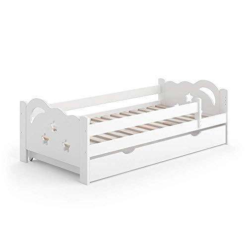 VitaliSpa Kinderbett Sari weiß mit Schubladen Jugendbett Rausfallschutz (Weiß, 80 x 160 cm)