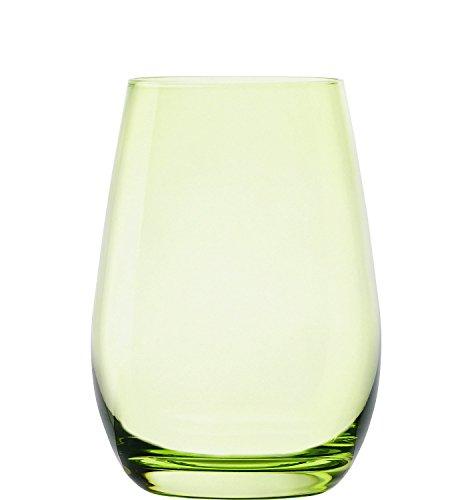 Stölzle Lausitz Elements Becher in grün, 465 ml, 6er Set Gläser, spülmaschinenfest, Bunte Trinkbecher, hochwertige Qualität