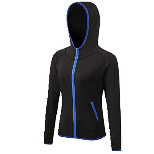 U/A - Abrigo de fitness para mujer, de secado rápido, con capucha, para yoga Azul azul S