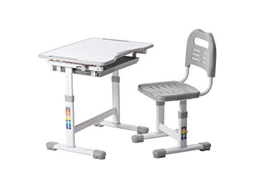 FD FUN DESK Sole Grey Kinderschreibtisch neigungsverstellbar, Schülerschreibtisch höhenverstellbar, Schreibtisch für Kinder mit Stuhl, 700x500x510-760 mm