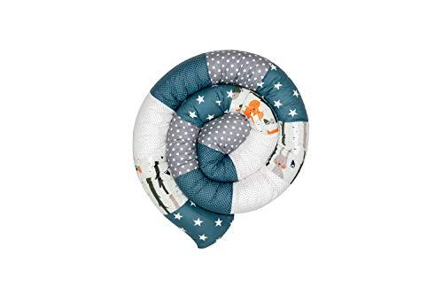Cojín protector para cuna de ULLENBOOM ® cojín chichonera en forma de serpiente bosque, verde, azul (ideal para proteger al bebé de los barrotes de la cuna o como cojín de apoyo)