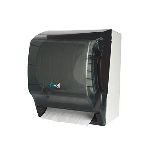 OVAL Despachador de Toalla de Papel en Rollo con Palanca para acción Manual Color Humo Incluye Candado y llave Despachador Toallero 35 x 29 x 29 cm