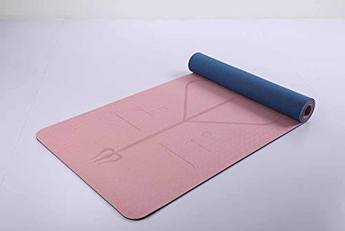 Esterilla Yoga, Esterilla Deporte Antideslizante con Material ecológico TPE, Yoga Mat diseñado para Entrenamiento físico con Correa de Transporte y Bolsa, Esterilla Deporte con Alineación 183x61x0.6