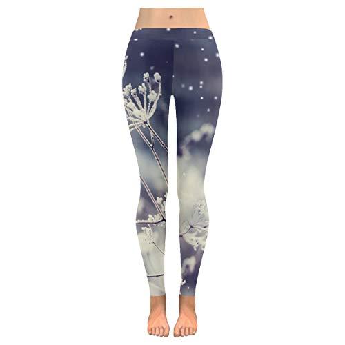 QUEMIN , Regalo del día de la Madre, Pantalones de Yoga para Mujeres, Leggings Capri elásticos Personalizados de Copo de Nieve de Invierno Pantalones Ajustados para Yoga Correr Pilates Gimnasio L