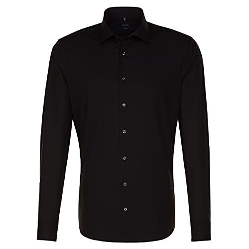Seidensticker Herren Tailored Fit Business Hemd, Schwarz (Schwarz 84), 38