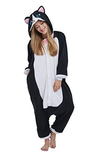 DELEY Unisex Adulto Animale Pigiama Caldo Onesies Pigiama Cosplay Homewear Anime Costume Gatto-2 M