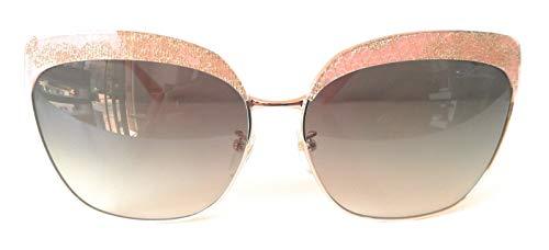 Blumarine mod. SBM135_ Gafas de sol de mujer, montura metálica con pestañas de encaje doradas cubiertas de resina en polvo. Barra metálica con logotipo 3D. rosa y oro