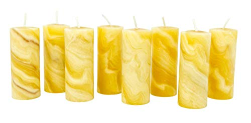Coraz Home Pack of 8 100% Pure Beeswax Mini Pillar Candles Natural Beeswax Hand Kneaded and Rolled 30 x 80 mm Each Candle