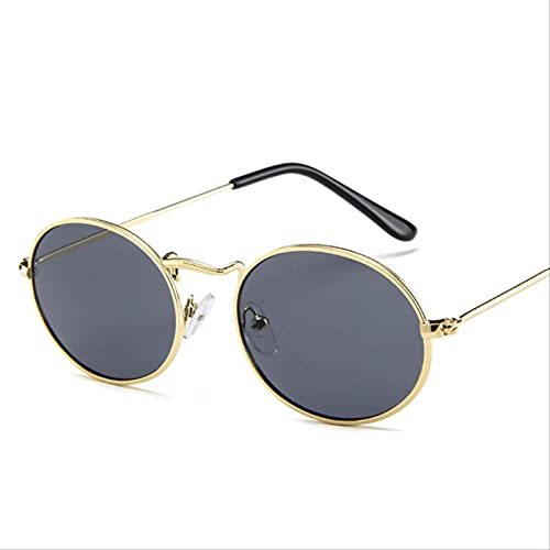 carebaby Gafas De Sol De Aleación Retro para Mujer, Gafas De Sol Redondas De Metal para Mujer, Gafas De Sol Ovaladas Vintage para Mujer