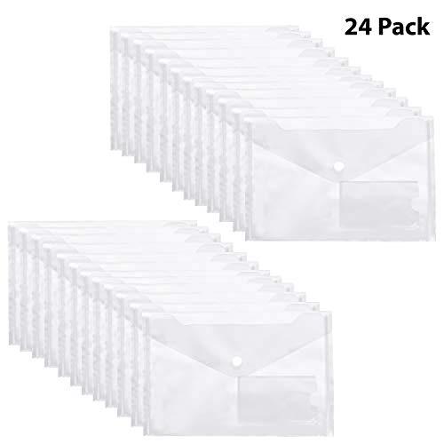 Pakket van 24, Helder A5 Plastic Envelop Mappen met Druk Sluiting, Documenten, Druk knop Sluiting, Poly Papieren Beurs met ID Kaart Raam Voor Certificaten, Recepten en Bonnen
