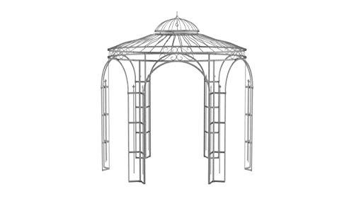 ELEO Milano wunderschöner Gartenpavillon Winterfest I Stabiler Rundpavillon Feuerverzinkt Ø 2,9 m I Romantischer Rosenpavillon aus Schmiedeeisen I Pavillon für Garten