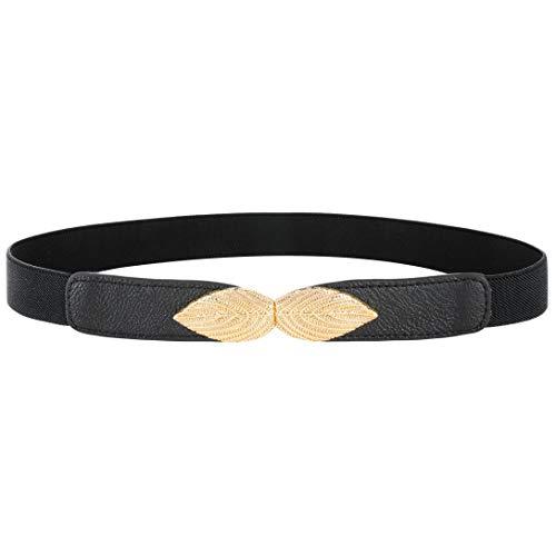 Coucoland Damen Metall dekorativen Gürtel dünnen Gürtel elastischen Taille Strap Stretchy Gürtel für Kleider (Stil1-Schwarz)