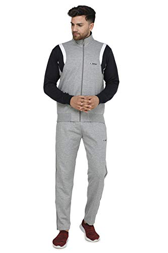 ATHLET Cotton Mix Winter Wear Regular Fit Tracksuit for Gym,Running, ports Track Suit for Men's and Boys (LIGHT GREY, 38)