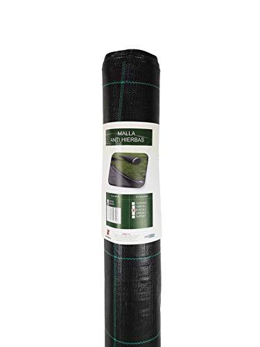Seinec Malla/Tela Antihierbas Negra 50m² (1 x 50m). Resistente a Roturas. con Protección UV para el Control de Maleza en Jardín y Huertos Ecológicos. Ocultación. Polipropileno (PP)