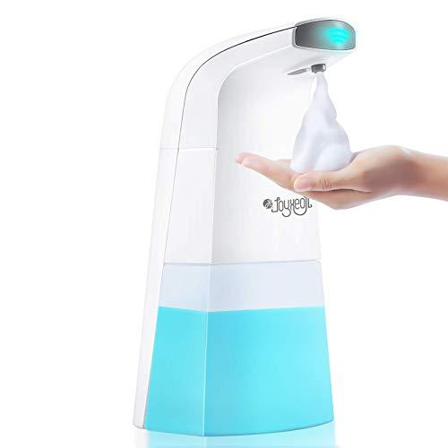 JOYXEON Seifenspender Automatisch Elektrischer Schaumseifenspender, Infrarot Seifenspender, Wasserdicht (IPX4), Berührungslos, Anti-Riss-Abdeckung aus Silikon, Mit 2 Handwasch-Brausetabletten (Blau)