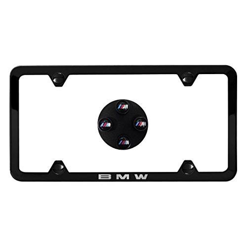 BMW Genuine Black Slimline License Plate Frame & M Logo Valve Stem Caps Black