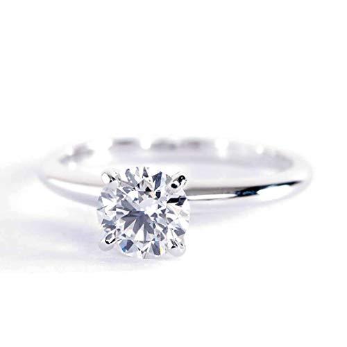 Anillo de compromiso de platino con diamante solitario de corte redondo clásico SI1 D de 0,50 quilates
