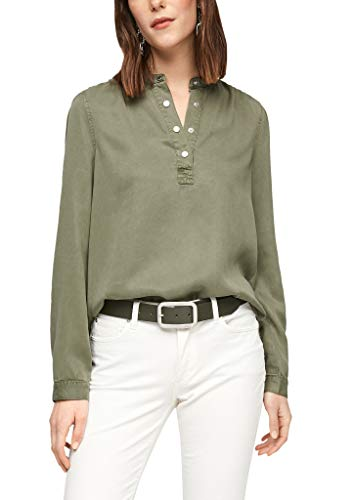 s.Oliver Damen Bluse mit Druckknopf-Verschluss Light Khaki 46