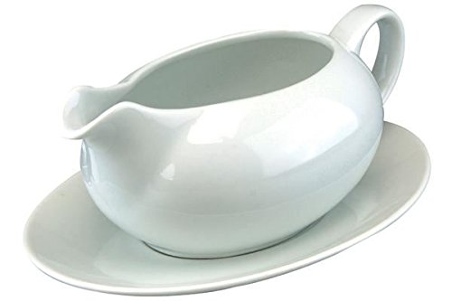 Small White Sauce Jug S ZZM White Steak Gravy Boat and Saucer Container Plate Tableware Porcelain Kitchen Gravy Pouring Boat Condiment Bowl with Handle