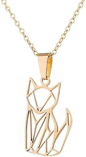 Yiffshunl Collar Collar de Moda Origami Cat Collares y Colgantes Joyas para niñas Collar Infantil Gato Collar geométrico de Gato Regalos de Acero Inoxidable para Amantes de los Animales