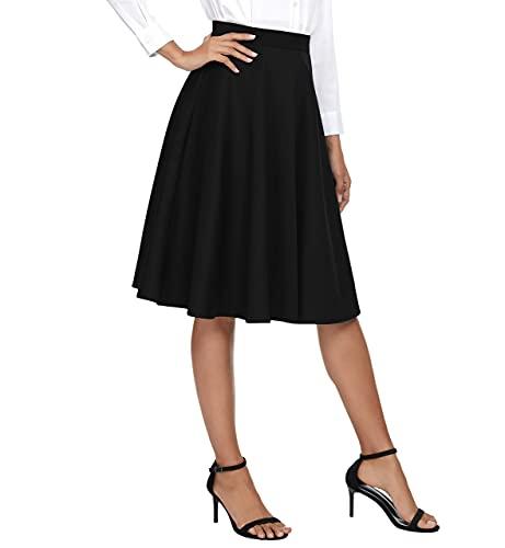 Urban CoCo Women's Basic Elastic Waist A-line Solid Flared Midi Skirt...
