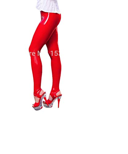 Fontoys-pants Sporthose Frauen Gummi Rote Fußhose Latex Hose Schritt Auf Leggings High Waist Crotch Zip-Red_S