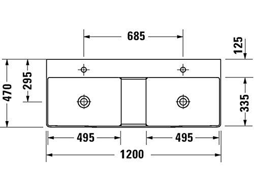 Duravit DuraSquare dubbele wastafel, meubel dubbele wastafel 120x47cm, zonder kraangat, zonder overloop, met kraangat bankje, Kleur: Wit - 2353120070