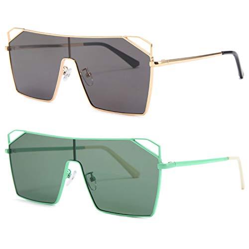 HFSKJ Paquete de 2 Gafas de Sol, Gafas de Sol cuadradas de una Pieza para Mujer Gafas de Sol INS Street Fashion Sun Glass,B