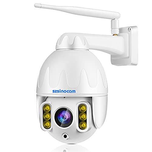 PTZ Überwachungskamera Aussen WLAN 8X Zoom Dome Kamera mit 355°/125° Schwenkbar, HD 1296P 3MP Pixel Wireless IP , Zweiwege-Audio,Sound&Licht Alarm, 50M IR Nachtsicht, Humanoidenerkennung