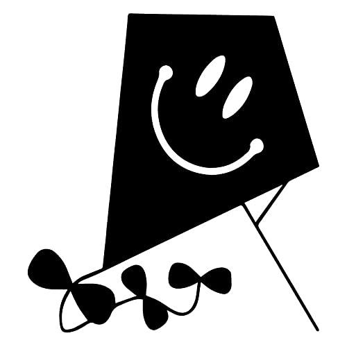 Wzjh 16x17.5cm Cometa con calcomanías de Etiqueta engomada de la decoración de la Ventana de la Historieta de la Cara Feliz (Color Name : Black)