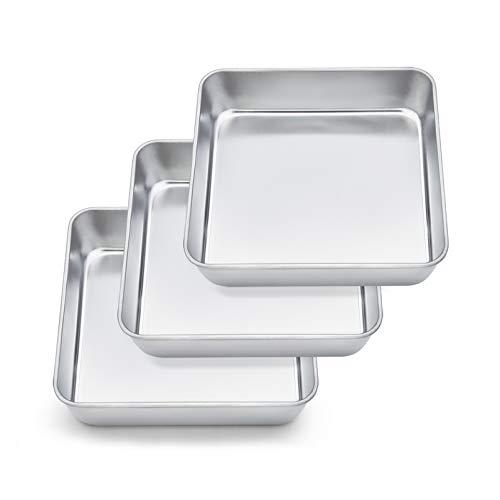 TeamFar Square Cake Pan, 8 Inch Square Baking Pan Stainless Steel Square Cake Brownie Pan for Baking Roasting Serving, Healthy & Non Toxic, Durable & Matte Finish, Dishwasher Safe - 3 PCS