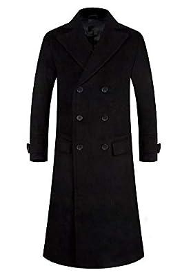 APTRO Men's Full Length Wool Trench Coat Fleece Lining Double Breasted Overcoat 1818 Black M from