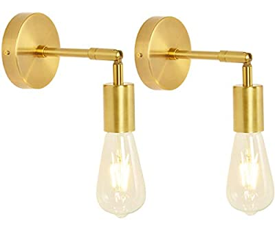 BAODEN Brushed Brass Bathroom Wall Sconce Set of 2 Vintage Industrial Wall Lamp Pole Wall Mount Lighting Fixture?Gold Color?