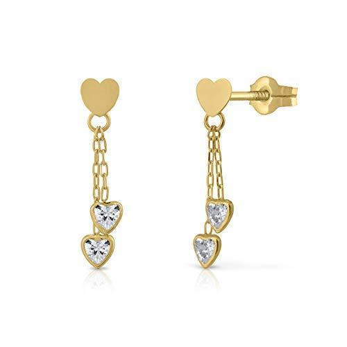Pendientes oro de ley niña o mujer modelo cadenas con corazones en circón de máxima calidad. Cierre de rosca o presión. (PRESION)