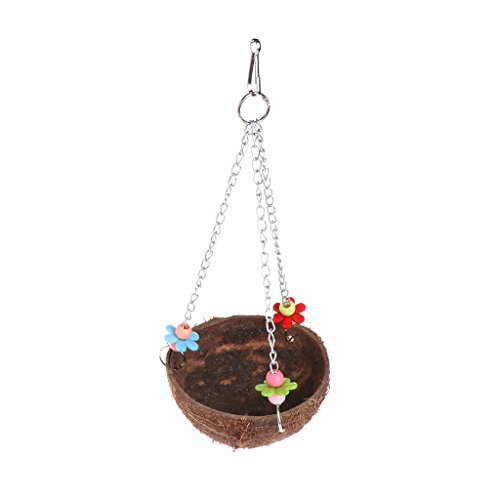 Natural Coconut Shell Bird Nest Cage Feeder Hanging Standing Toys For Pet Parrot
