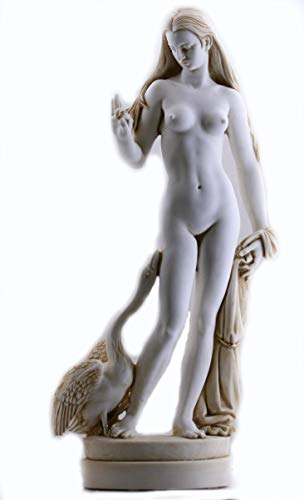 Princesa Leda y cisne Dios Zeus griego fundido mármol grande escultura estatua de 59,9 cm