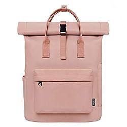 KALIDI Backpack Ladies Backpack Men's Daypack with Laptop Compartment, Unisex Modern Rolltop Rucksack Daypack, Waterproof School Backpack, Casual Backpack School Leisure Uni Arbeit (rosa)