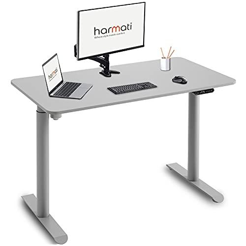 Harmati Höhenverstellbarer Schreibtisch Elektrisch 120x50cm - Gaming Tisch Höhenverstellbar Tischgestell mit Motor, Computertisch mit Memory Funktion (Grau)